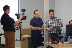 Rob Duvall taping an episode of Halton Tech Today for TV Cogeco with Mike Branch of MAPS Bi and Inovex, Oakville