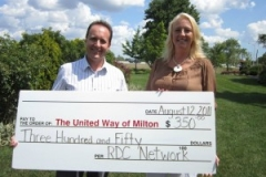 Rob Duvall and his wife Carol present a cheque for $350 to the United Way Milton for the 1st Annual Charity Wine Tasting event held at Casa Americo, Milton, Ontario