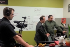 Rob Duvall shooting a segment for TV Cogeco show Halton Tech Today with Dan Gamsby of Cinema Suite