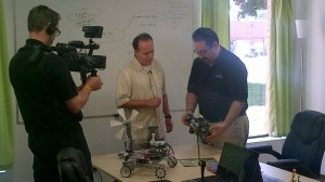 Rob Duvall shooting a segment of Halton Tech Today with Enable Education Milton